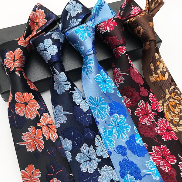 New Arrival Fashion Silk Men Neck Ties Formal 8cm Wear Business Wedding Party Jacquard Floral woven Men Tie