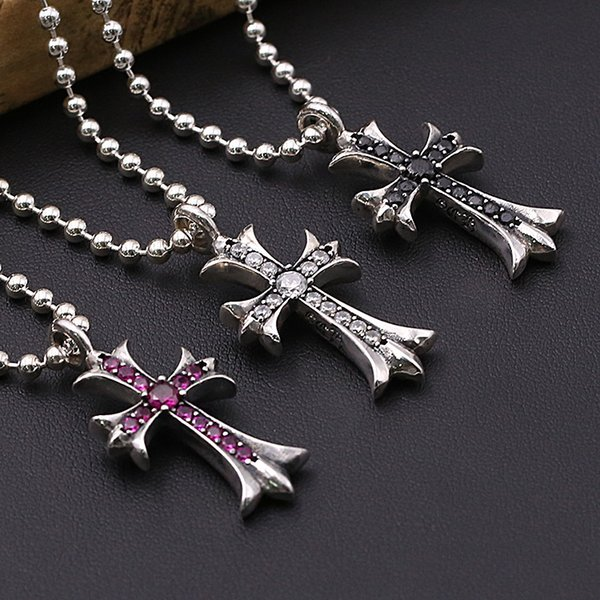 Personlized 925 sterling silver jewelry antique silver hand-made designer crosses necklace pendants vintage style without chain 3 colors