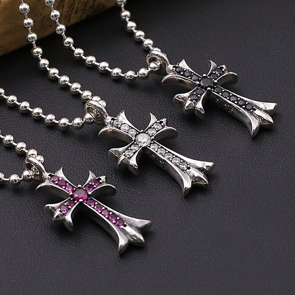 Personnlized 925 bijoux en argent sterling argent antique designer fait à la main croix collier pendentifs style vintage sans chaîne 3 couleurs