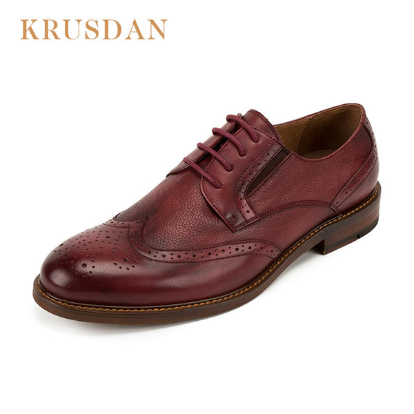 KRUSDAN brand oxfords shoes for men genuine leather casual men shoes lace-up Vintage Bullock Style Mens Leather 2018