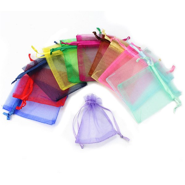 Hot sell 50pcs Drawable Organza Bags Wedding Gift Bags 7X9 small Jewelry Packaging Bag tulle fabric Organza Sheer Bags 6Z
