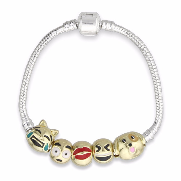 Hot sale fashion women jewelry silver chain Charms DIY face bead Bracelet & Bangle with safety clasp for girls fine gift KM265