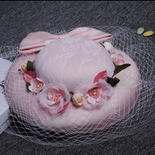 Modest Lovely Pink Lace Formal Bridal Hats Wedding Party Headpieces Hat with Flowers Tulle Birdcage Design New