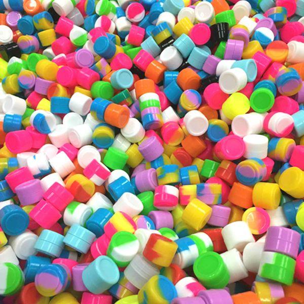 100pcs 2ML Silikon-Behälter-Silikon-Wachs bho Behälterkasten buntes Nahrungsmittelgrad wiederverwendbares Silikonwachsglas mehrfache Farben Speicherglas