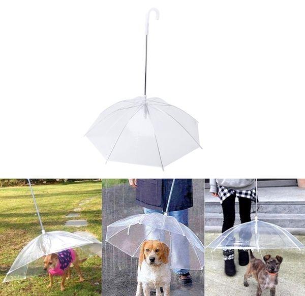 Hot Sale Transparent Pet Umbrella Portable Built-in Leash Puppy Umbrella Cat RaincoatKeeps Pet Dry Comfortable in Rain