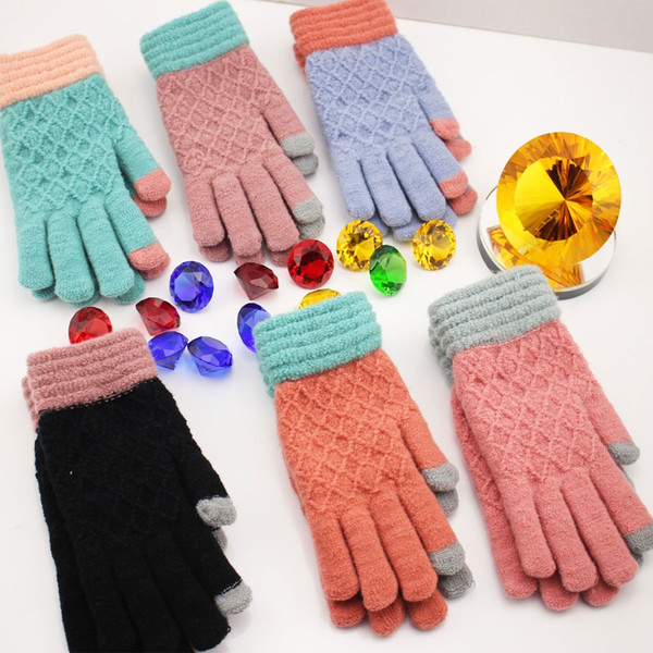 Free shipping 12pcs/lot winter warm lady knitted gloves Touch Screen High quality female Thicken Wool Cashmere women mitten