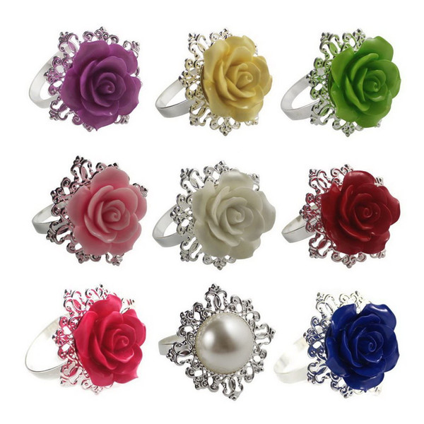 Rose Flower Rhinestone Napkin Ring Serviette Holder Napkin ring buckles For Wedding Banquet Dinner Decor Mix Colors AAA777