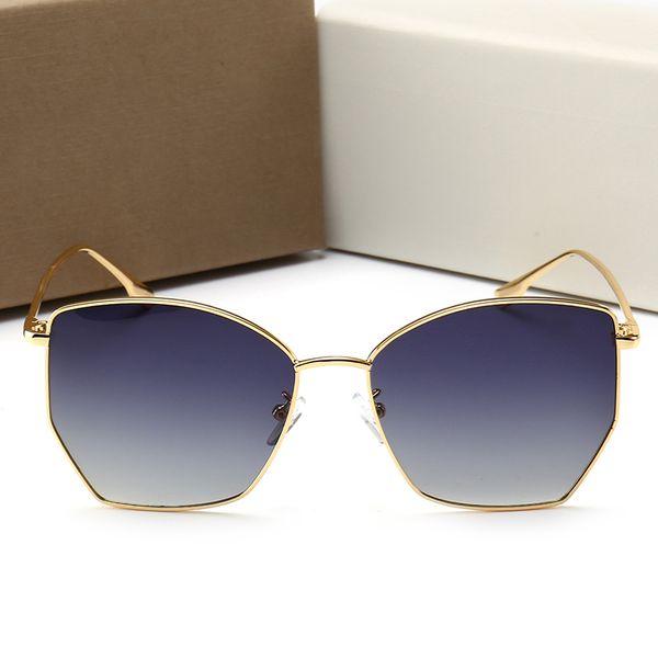 Sıcak Marka Polarize Güneş Gözlüğü Lüks Kadınlar Marka Tasarımcısı 0102 Yaz Tarzı Tam Çerçeve Üst Kalite UV Koruma Kutusu Ile Karışık Renk 5 pair