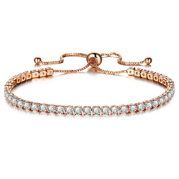 DIEZI Fashion Luxury Wedding Chain Bracelets For Women Rose Gold Silver Color Cubic Zirconia Charm Bracelet & Bangles Jewelry