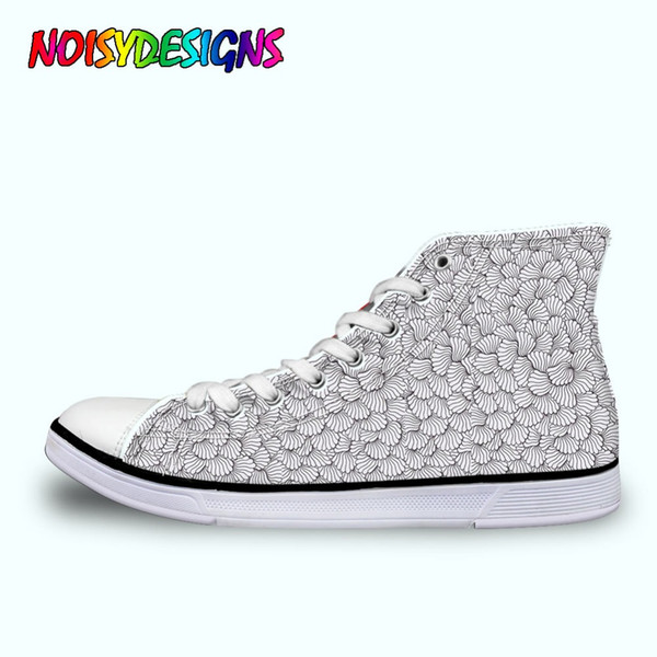 Classic Women Vulcanize Shoes Fashion African Style Patterm High Top Canvas Shoes Breathable Women Lace up Flat