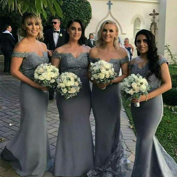 2018 серый длинные платья невесты с кружевами с плеча Cap рукава Русалка свадьба платье подружка невесты Платья