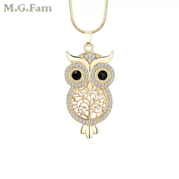 (180P) OWL Pendant Necklace For Women Jewelry White Crystal Gold Plated New Design with 48cm Snake Chain