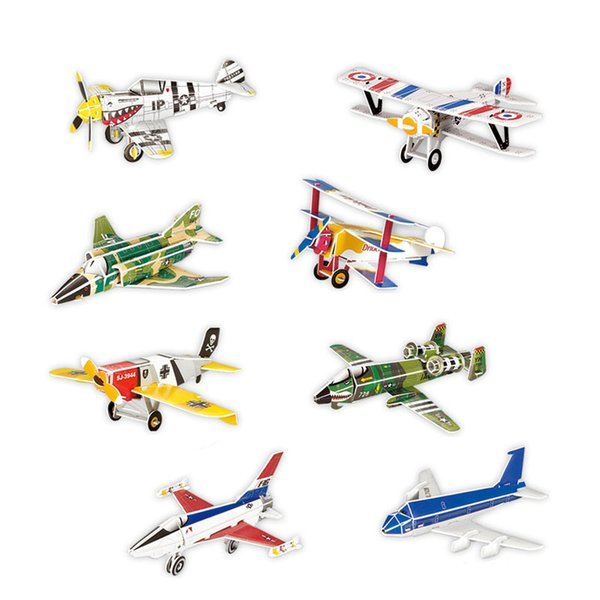 110PCS Blocks Children 3d Puzzle Paper Airplane Model Fighter F-16 Fighting Falcon Airbus Diy Assembled Plane Educational Toys
