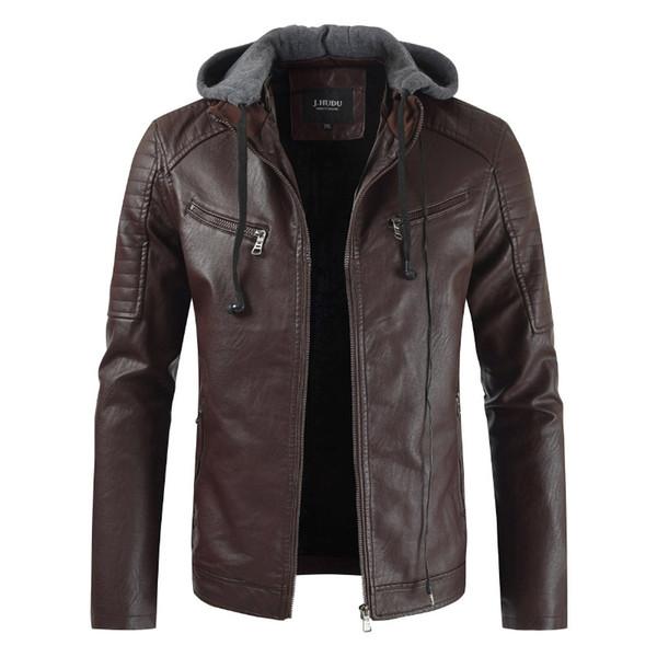 Кожаный кожаный куртка Loldeal Men с капюшоном с капюшоном