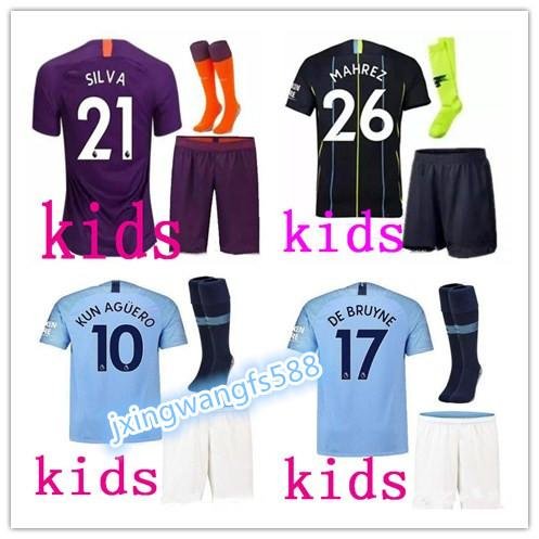 best quality 18 19 KUN AGUERO Soccer jersey kids kits 2018 2019 man SANE MAHREZ SILVA DE BRUYNE G.JESUS city Football shirt