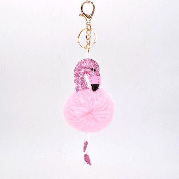 Kids key chain Girls Flamingo Keychains Pom Pom Ball Ins Bling Bling Sparkle Key Ring Christmas Small Gifts ideas Kids Stocking Gifts