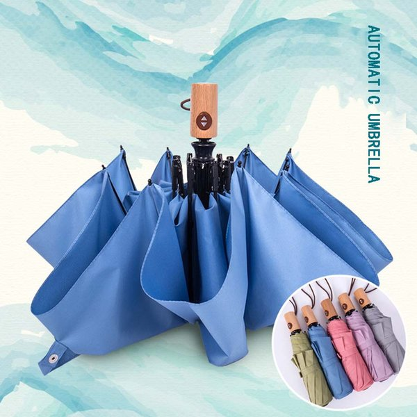 Colore solido di qualità giapponese Ombrello piegante completamente automatico Uomini Anti-UV Parasol Manico in legno Donne Ombrello antivento