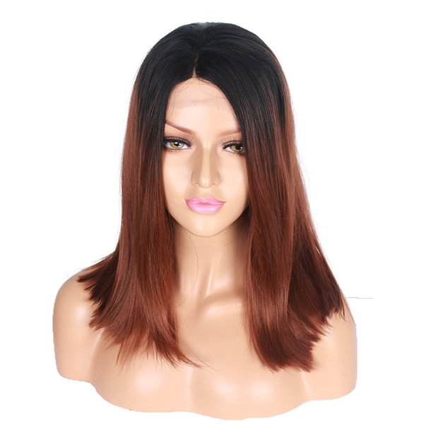 Middle Part Full Machine Made Short Bob two tone pretty fashion cheap beautiful Synthetic Lace Front Wig