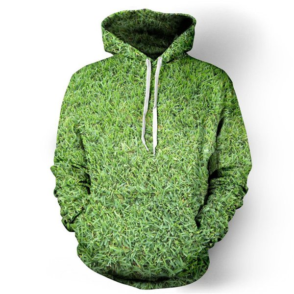 Fresh 3D Grass Hoodie Casual Men Green Plant Print Tracksuit Fitness Punk Rock Couple Sweatshirt Hooded Casual Anime Tracksuits
