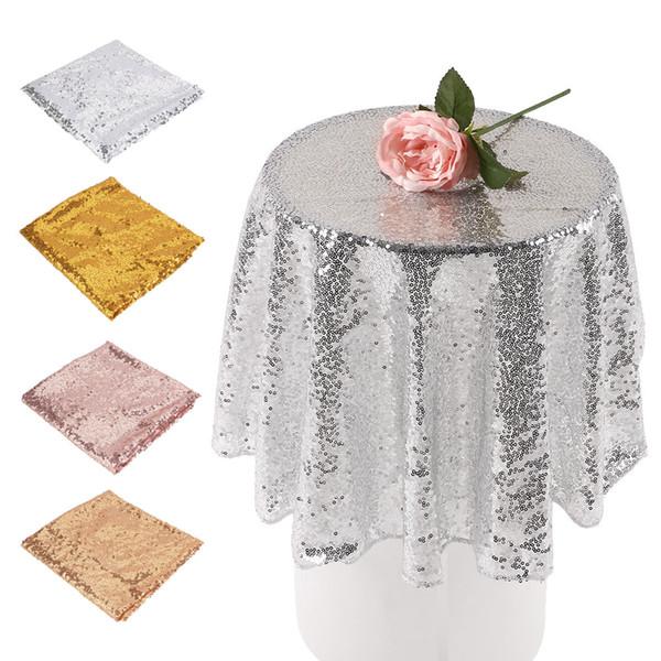 80cm Sequin Tablecloth Round Table Cloth Festival Banquet Wedding Decorations Gold Silver Table Cover Manteles Para Mesa