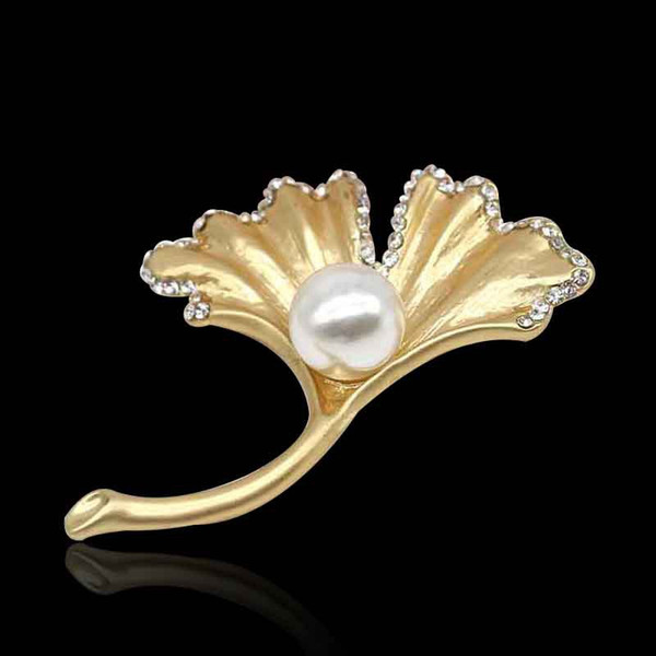 Luxury Pearl leaf Brooch With Diamond Luxury Brand Designer Brooch Pin For Dress Fashion Clothes Accessories Suit Pins