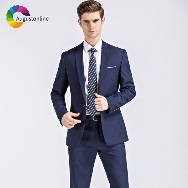 Augustonline Royal Blue Business Men Suits Wedding Slim Fit Groom Wear Tuxedos 2 Pieces (Jacket+Pants) Prom Best Man Blazer