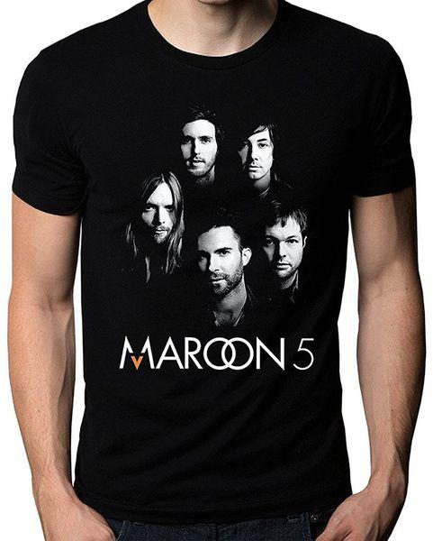 T Shirt Vintage O-Neck Men Maroon 5 Five V Adam Levine Band Face Logo Men's T-Shirt Cotton Short Sleeve Shirts