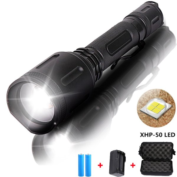 12000 Lumen Powerful XHP50 LED flashlight Tactical Zoom torch Rechargeable Lantern Power by 18650 battery for Camping
