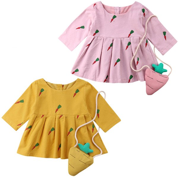 2018 New Brand Toddler Baby Girl Carrot Print Long Sleeve Princess Swing Dress+Mini Bag Clothes Age 6M-3T