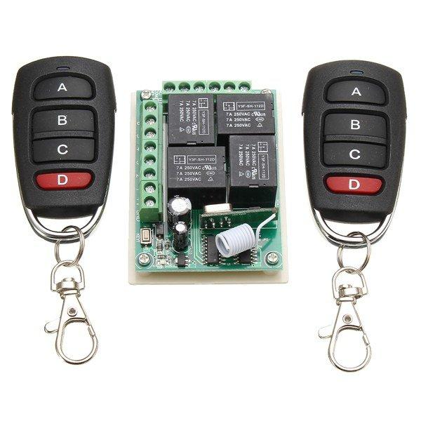 Security control switch Accessories 12V 315Mhz 4CH Channel Relay Wireless Remote Control Switch With 2 Transmitter