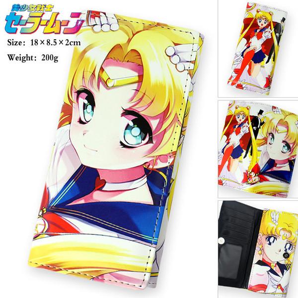 Kawaii Sailor Moon Cartoon Long Wallet Women Japanese Fashion Lady Purse Lovely Handbag Clutch Famale Children Coin Purse Gift