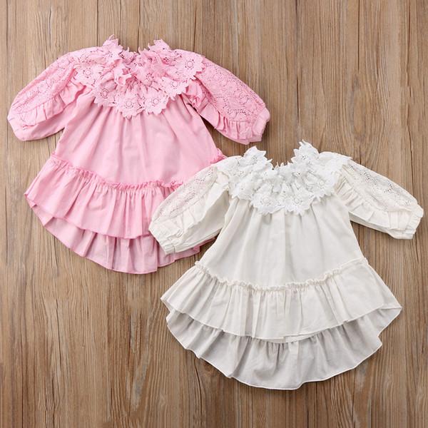 Acheter Fille Crochet Dentelle Robes De Fleur Vêtements Enfant Princesse Coton Robe En Lin Automne Bébé Robe De Fête à Manches De 5307 Du