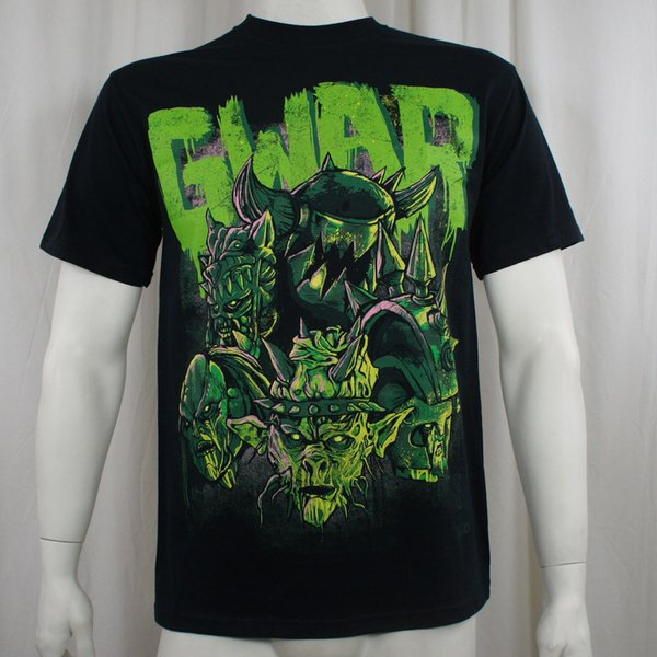 Autênticos GWAR Banda Destroyers Green Dave Brockie T-Shirt Nova Chegada Dos Homens de Impressão Curta Em Torno Do Pescoço Homem