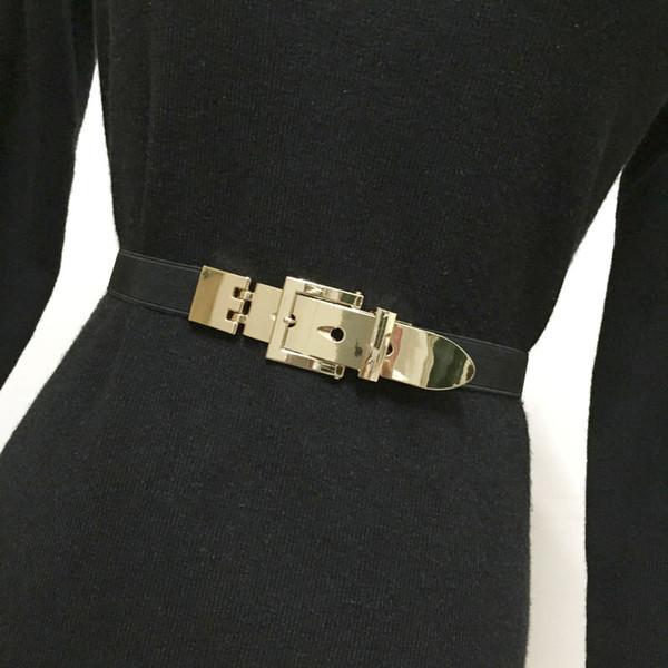 Acquista autentico prezzo di strada vendita a basso prezzo Acquista 2018 Moda Cintura Donna Cintura Elastica In Oro Vintage Fibbia  Piccola Cinghia Cinture Sottili Cintura Donna Accessori Cintura Sottile A  ...