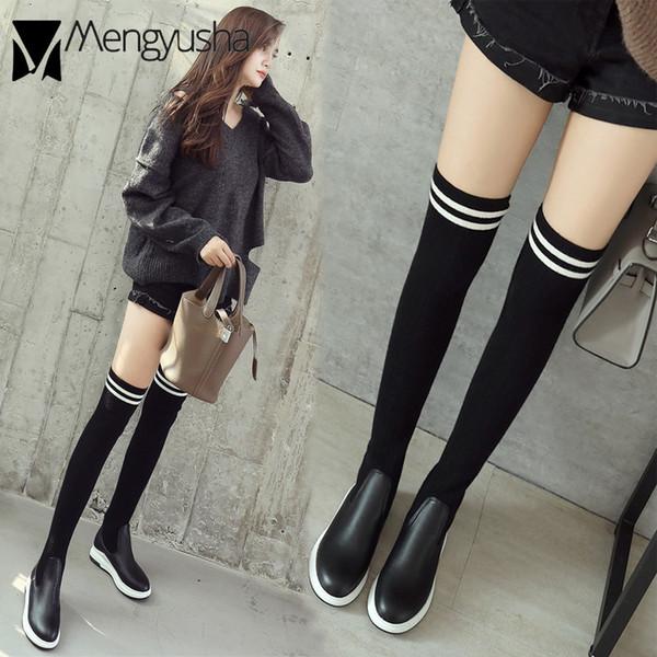 0e6d36fd933 Knitted Patchwork women socks shoes stretch over knee long thigh high boots  wedges flat heels platform