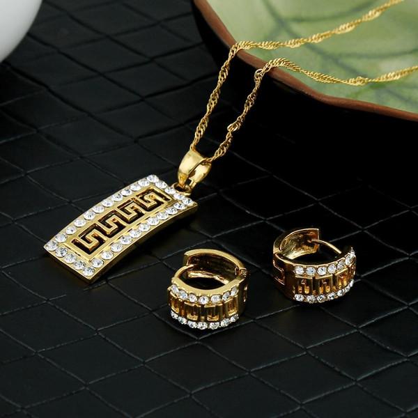 ensemble venteLuxury cz Vintage frette grecque ensemble de bijoux pendentif collier boucles d'oreilles modèle clé or crystaljewelry bijoux de mariage africain cadeau