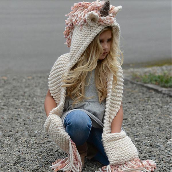 kids Unicorn scarf cap 2 in 1 Kids Infant Warm Knitted Hats warmer Winter Beanie Hat Tassels cap Christmas Gifts For Children