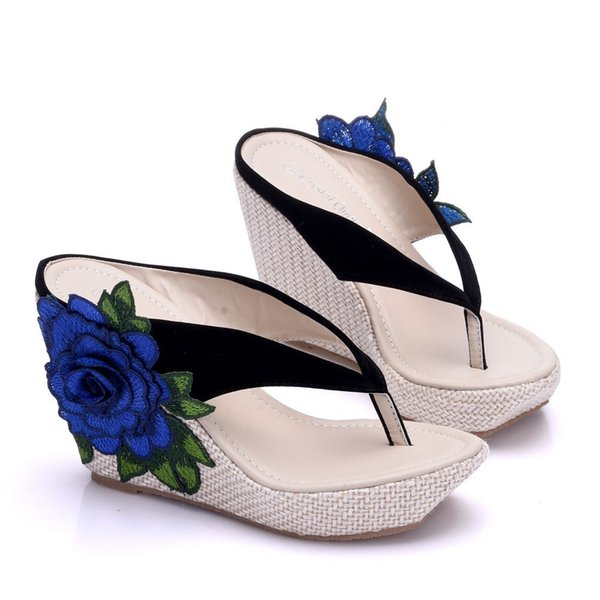 New Bohemia style beach slippers for women appliques wedge heels fashion platform beading wedding shoes flip flops Plus Size Bridal sandals
