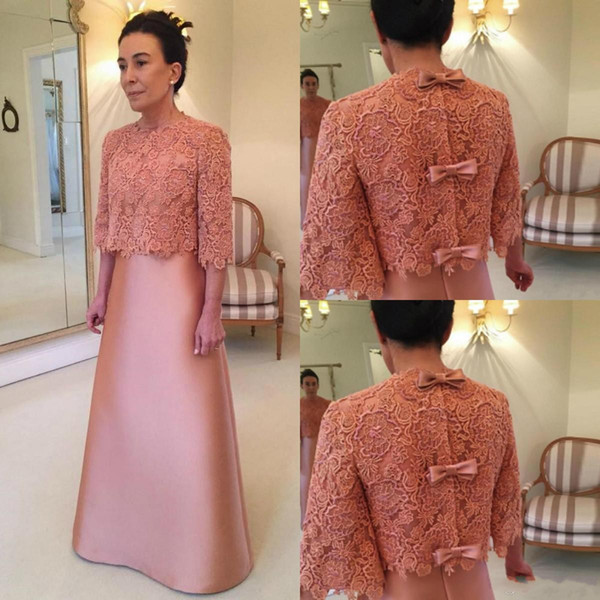 2018 Two Piece Mother Of The Bride Dresses With Jacket Lace Appliques Plus Size Half Sleeves Bow Floor Length Wedding Guest Evening Gowns
