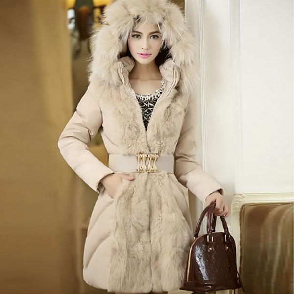 best selling Office Lady Hooded Patchwork Faux Fur Coats Slim Women's Elegant Luxury Warm Jacket Coats 2018 Winter Fashion Female Outwear