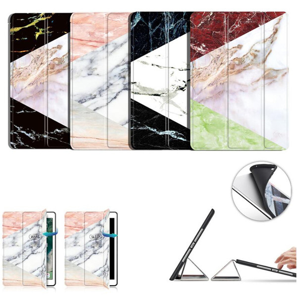 Marble Lightweight Trifold Stand Auto Sleep Wake Soft Back TPU Smart Case Cover for New iPad 9.7 Inch 2017 2018 2 3 4 Air Air2 Pro 10.5