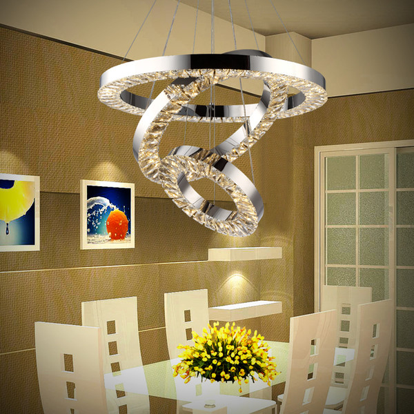 Modern LED Crystal Chandeliers 3 Ring lustre Pendant Lamp Dinning Room Living Room LED Round Circle Dimmable Hanging Lighting luminaria