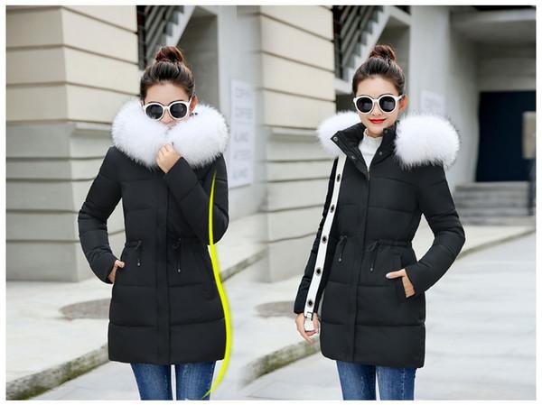 Acheter Veste D'hiver Femmes Nouveau 2018 Manteaux Fausse Fourrure Manteau Femme Parka Noir Épais Coton Rembourré Doublure Doublure Dames Manteau