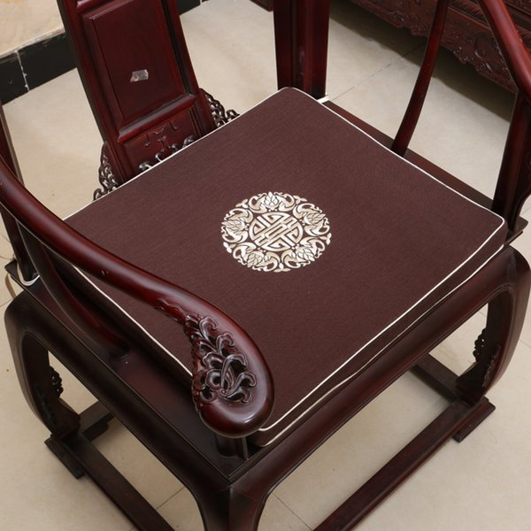 Ethnic Embroidery Lucky Thick Comfort Seat Cushion for Chair Classic High End Chinese style Linen Cotton sponge Pad Cushion Seat Home Decor