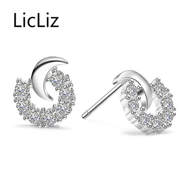 Licliz Moda Kadınlar için 925 Ayar Gümüş Zirkonya Damızlık Küpe Ay Küpe Pendientes Mujer Moda Aretes de Mujer LE0438