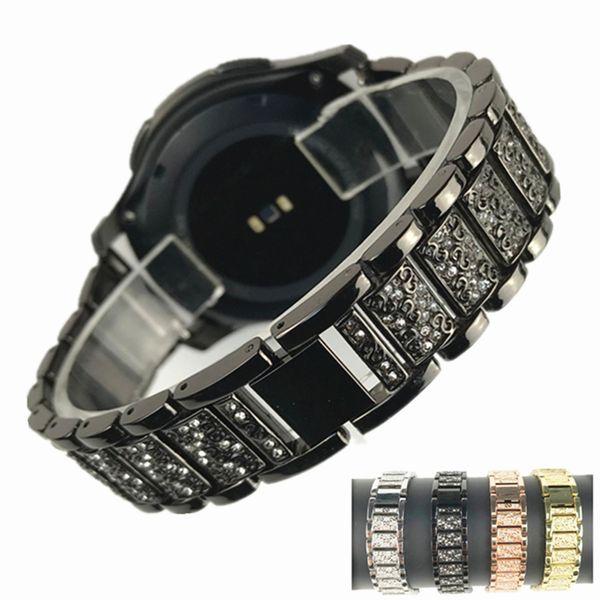 22mm Shiny Diamond Folding buckle Stainless Steel Watchband Bracelet Strap for Samsung Gear S3 HuaWei Watch 2 Huami AMAZFIT