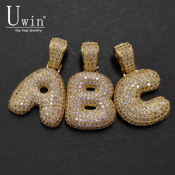 UWI A-Z Nombre personalizado Bubble Letters Collares Colgante Charm Para Oro Plata Color Cubic Zirconia Hip Hop Joyería Envío de la gota