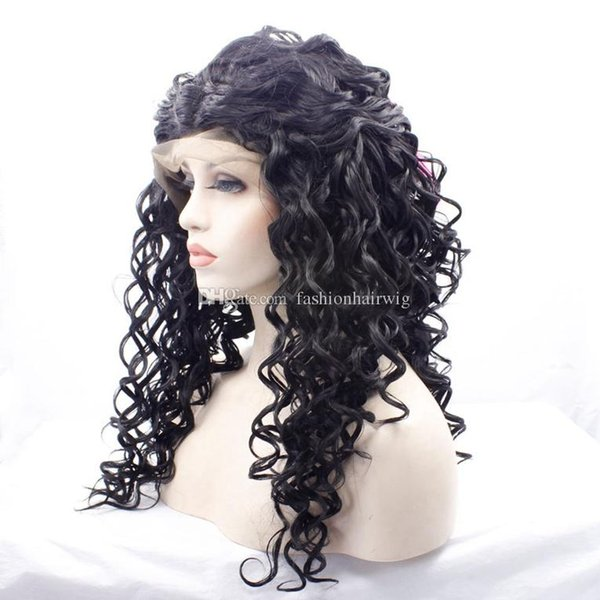 Venda quente solto encaracolado Peruca Dianteira Do Laço Sintético Barato cabelo brasileiro Perucas Dianteiras Do Laço Longo Kinky Curly Perucas Sintéticas Com Cabelo Do Bebê