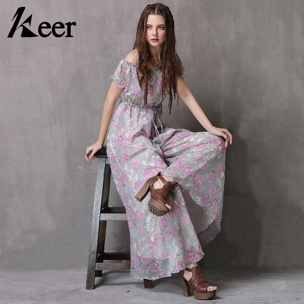 Keer Qiaowa Women Floral Overall Jumpsuit Pants 2018 Summer Off Shoulder Ruffle Chiffon Pants Wide Leg Trousers High Quality