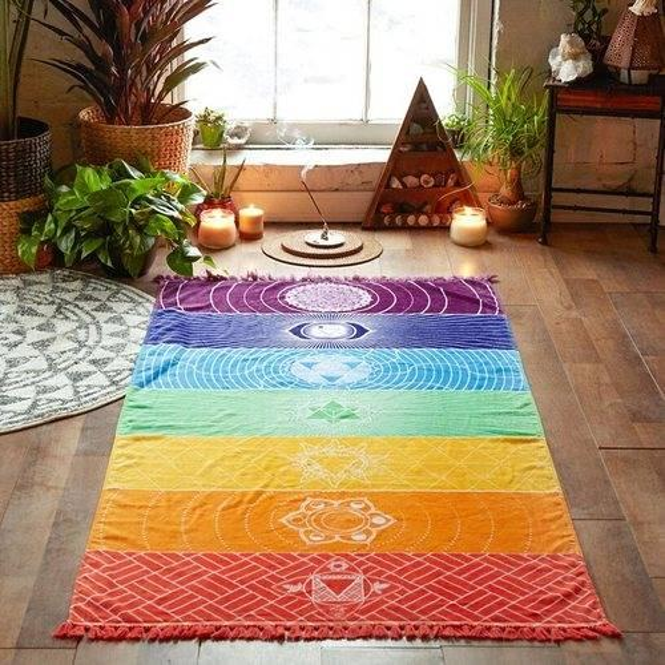 Material de la tela de microfibra Bohemia India Mandala manta 7 Chakra Rainbow Rayas Tapicería Toalla de playa Estera de yoga Toalla de baño